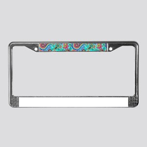 Retro Colorful Vintage Paisley License Plate Frame