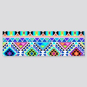 Colorful Tribal Geometric Pattern Bumper Sticker