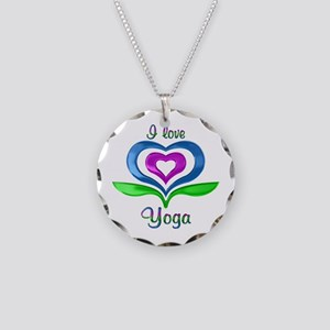 I Love Yoga Hearts Necklace Circle Charm
