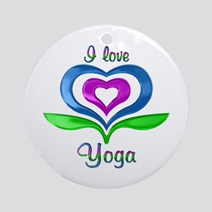 I Love Yoga Hearts Round Ornament
