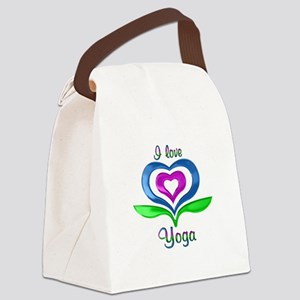 I Love Yoga Hearts Canvas Lunch Bag