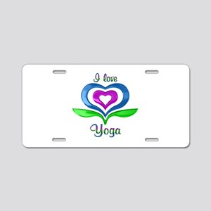 I Love Yoga Hearts Aluminum License Plate