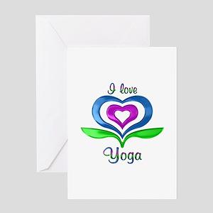 I Love Yoga Hearts Greeting Card