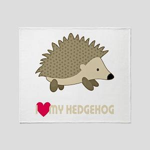 I Love My Hedgehog Throw Blanket