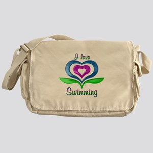 I Love Swimming Hearts Messenger Bag