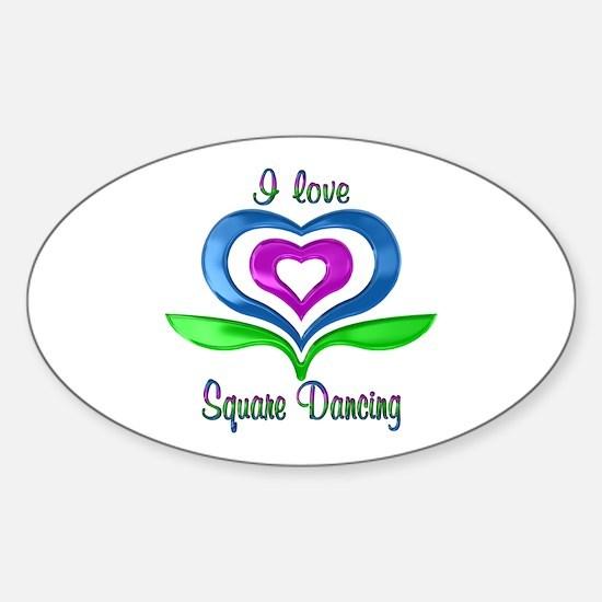 I Love Square Dancing Hearts Sticker (Oval)