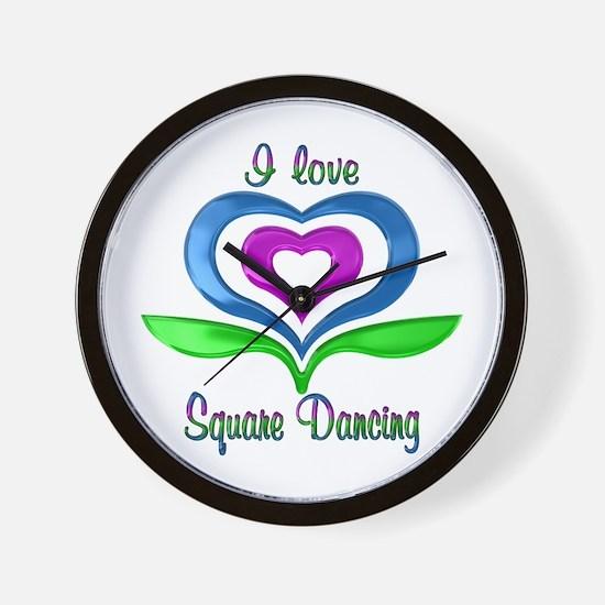I Love Square Dancing Hearts Wall Clock