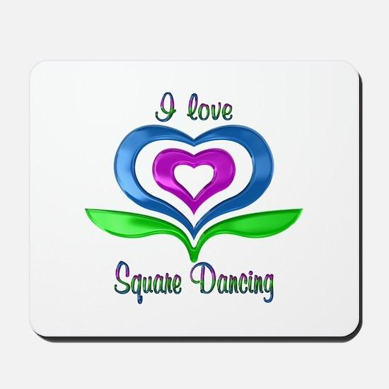 I Love Square Dancing Hearts Mousepad