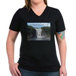 Montmorency Falls at Large Women's V-Neck Dark T-S