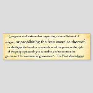 The First Amendment Bumper Sticker