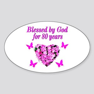 BLESSED 80TH Sticker (Oval)