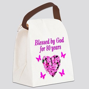 BLESSED 80TH Canvas Lunch Bag