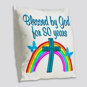 BLESSED 80TH Burlap Throw Pillow