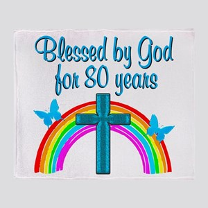 BLESSED 80TH Throw Blanket