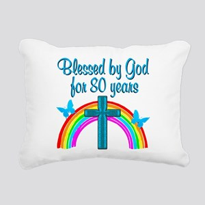 BLESSED 80TH Rectangular Canvas Pillow