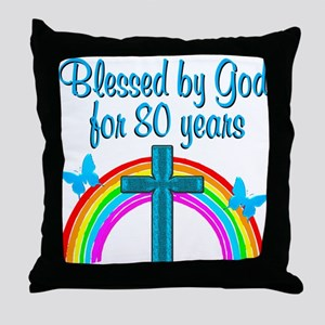 BLESSED 80TH Throw Pillow