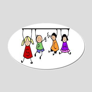 Cute Kids Cartoon Holding 20x12 Oval Wall Decal