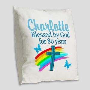 80TH PRAYER Burlap Throw Pillow