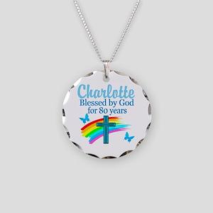 80TH PRAYER Necklace Circle Charm