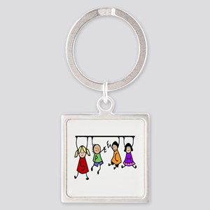 Cute Kids Cartoon Holding Speech Words Keychains