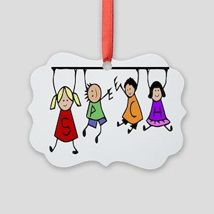Cute Kids Cartoon Holding Speech Picture Ornament