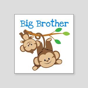 "Monkeys Big Bro w. Little S Square Sticker 3"" x 3"""