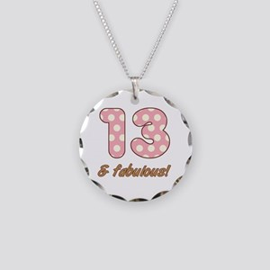 13th Birthday Dots Necklace Circle Charm