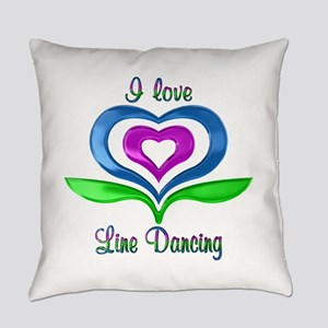 I Love Line Dancing Hearts Everyday Pillow