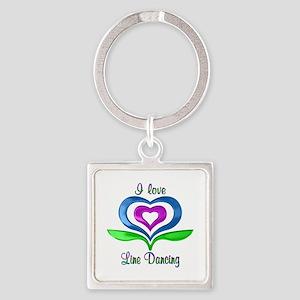 I Love Line Dancing Hearts Square Keychain