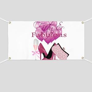Fifty & Fabulous Pink Glitter Banner