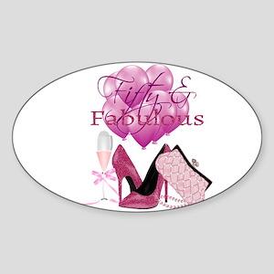 Fifty & Fabulous Pink Glitter Sticker