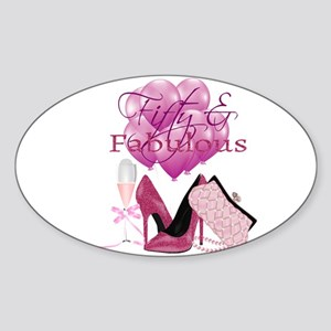 Fifty & Fabulous Pink Glitter Sticker