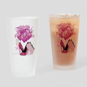 Fifty & Fabulous Pink Glitter Drinking Glass