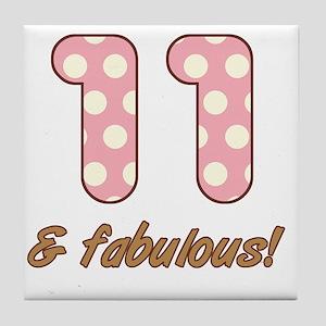 11th Birthday Dots Tile Coaster