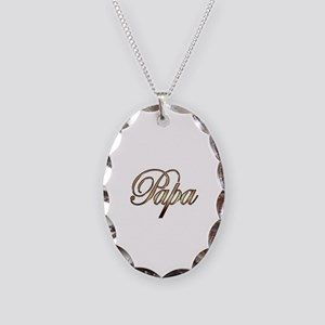 Gold Papa Necklace Oval Charm