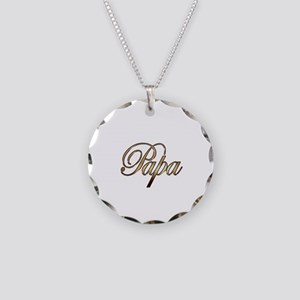 Gold Papa Necklace Circle Charm