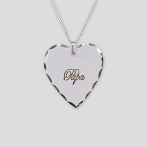Gold Papa Necklace Heart Charm