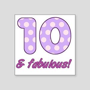 "10th Birthday Dots Square Sticker 3"" x 3"""
