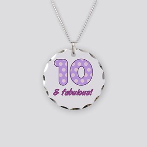 10th Birthday Dots Necklace Circle Charm