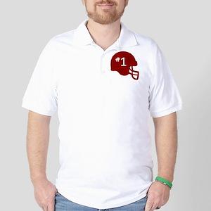 Red Rustic Number One Helmet Golf Shirt