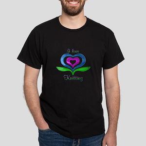 I Love Knitting Hearts Dark T-Shirt
