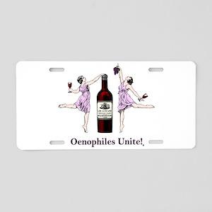 Oenophiles Unite! Aluminum License Plate