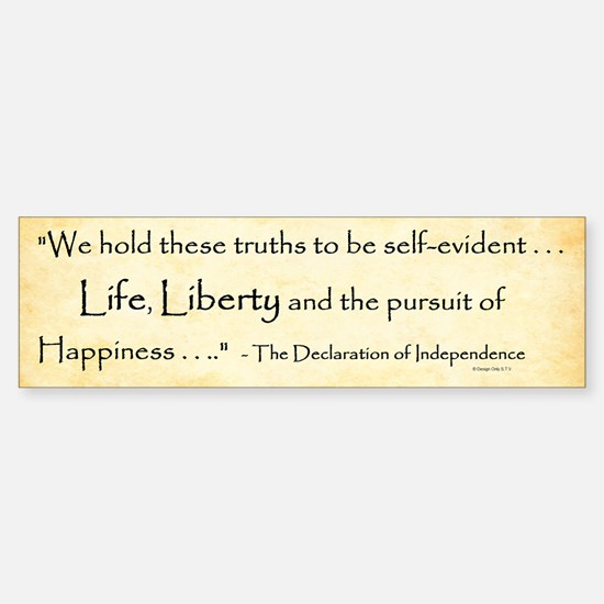 The Declaration Of Independence Bumper Bumper Bumper Sticker