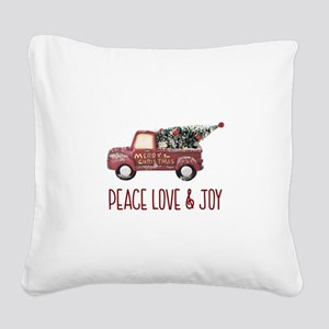 Vintage Toy Truck Peace Love Square Canvas Pillow
