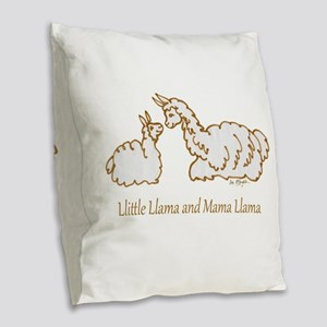 Llittle Llama And Mama Llama Burlap Throw Pillow