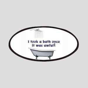 I took a bath once blue font white Patch