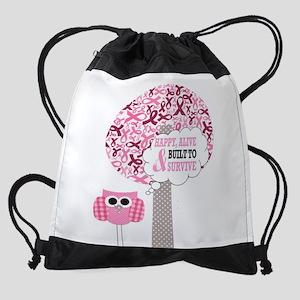 happy & alive breast cancer survivo Drawstring Bag