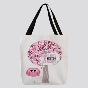happy & alive breast cancer sur Polyester Tote Bag