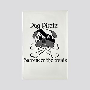 Pug Pirate Surrender the trea Rectangle Magnet