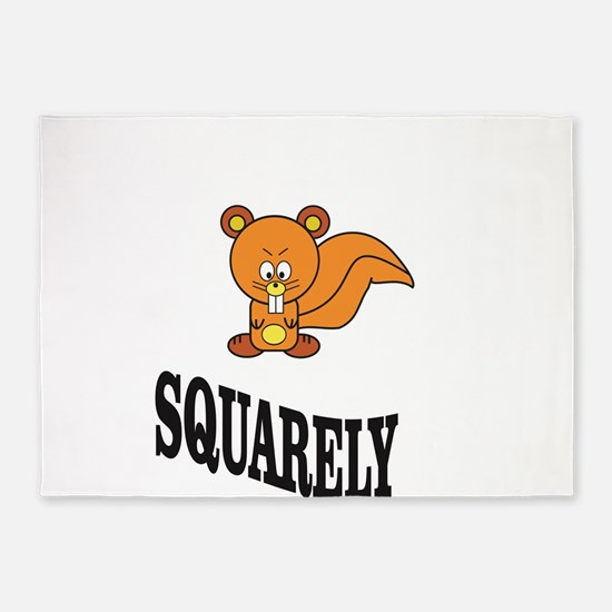 squarely squirrelly 5'x7'Area Rug